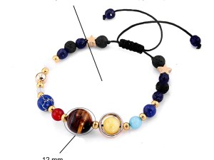 Bracelet perles en pierre qui représentent des planètes du système solaire