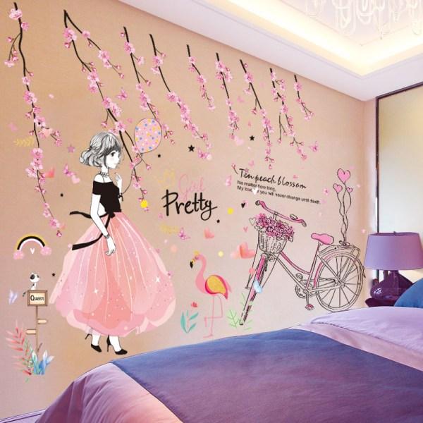 Sticker mural fille glamour robe rose et noire