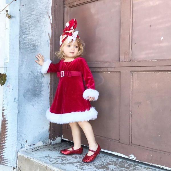 Robe Noël mi-longue bébé fille