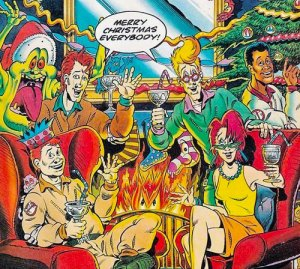 The picture shows an image of Real Ghostbusters celebrating Christmas.