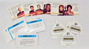 Picture shows a selection of the various game cards from Star Trek: A Klingon Challenge.