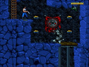 Blackthorne: Kyle Blackthorne stands on an upper right ledge next to a ladder. On the ledge below is a lift platform guarded by a Stone Beast.