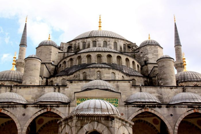 Close up of the Blue Mosque exterior