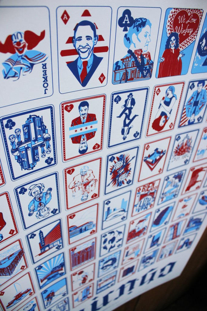 Chicago Playing Card Uncut Deck screenprinted poster (detail)