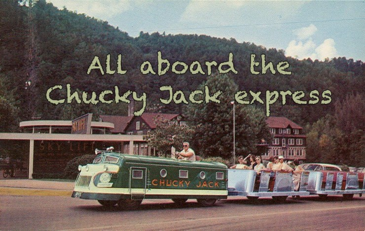 Chucky Jack trackless train would shuttle folks from Gatlinburg to the nearby Hunter Hills theater.