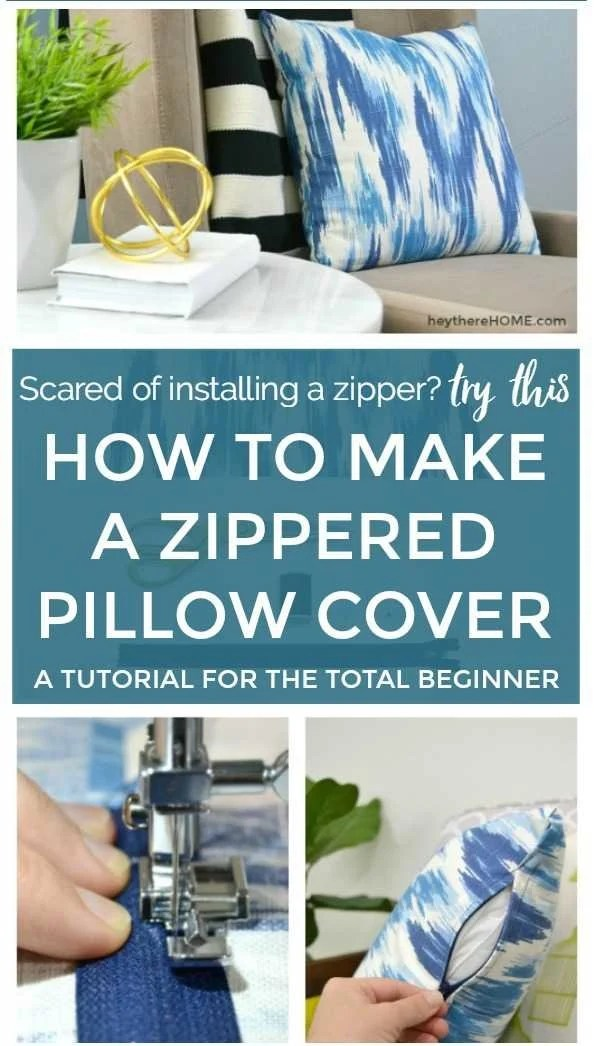 how to make a zippered pillow case