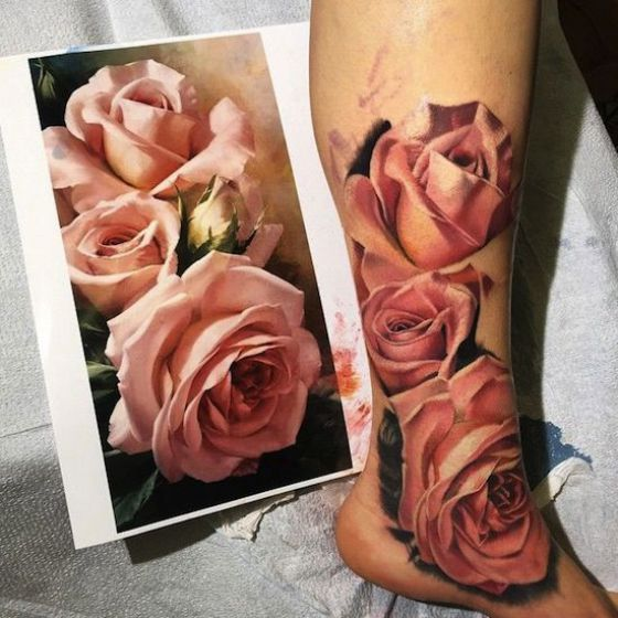 Rosas Tattoo Realismo Color