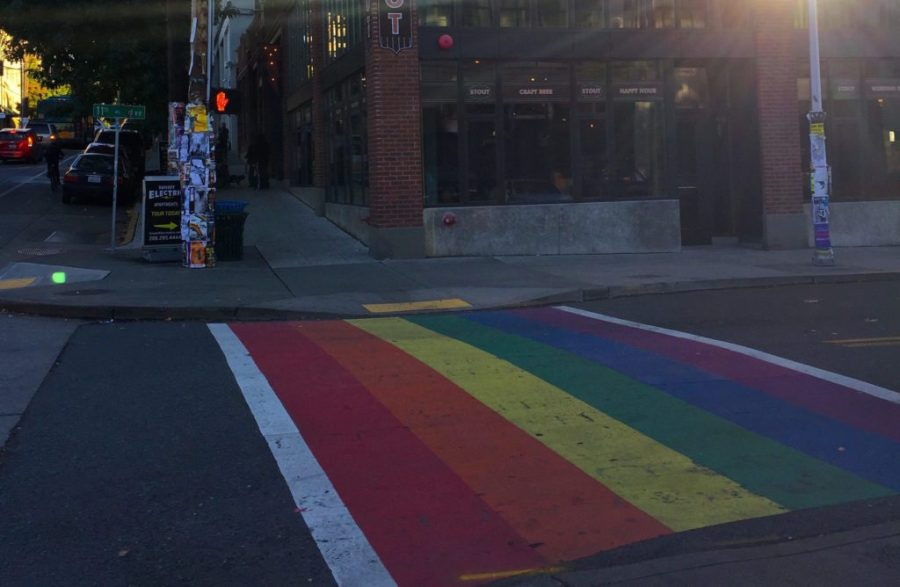 Gay pride crossing in Capitol Hill Seattle WA