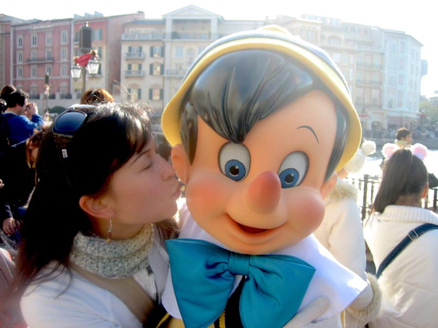 Kissing Pinocchio at Disney