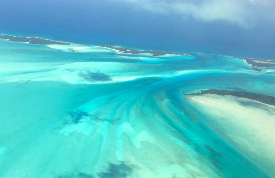 Aerial view of Great Exuma from airplane