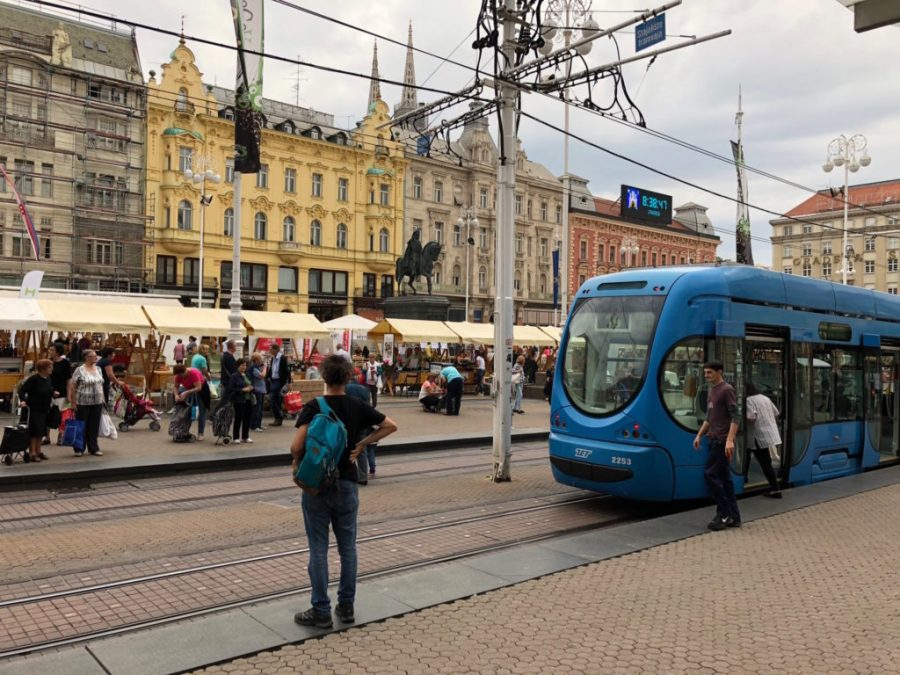 tram at Ban Jelacic square, Zagreb, Croatia