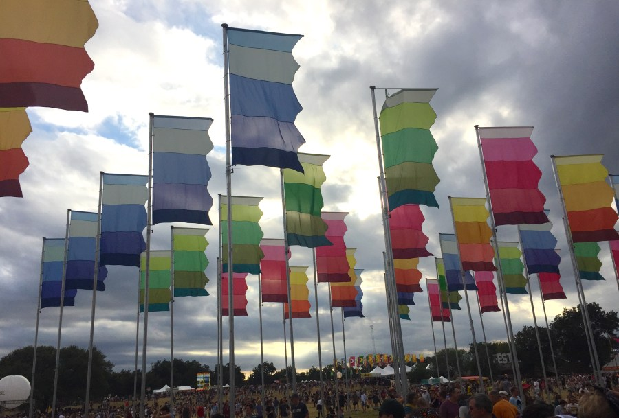 Brightly colored flags at ACL Austin City Limits Austin Texas