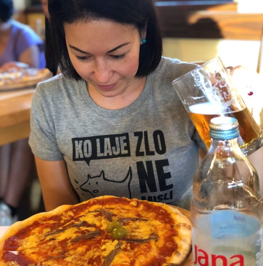 pizza with anchovies in Plitvice Lakes National Park, Croatia