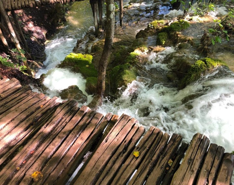 wooden walkway over waterfalls at Plitvice Lakes National Park, Croatia