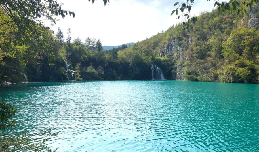 blue lake and waterfalls in Plitvice Lakes National Park, Croatia