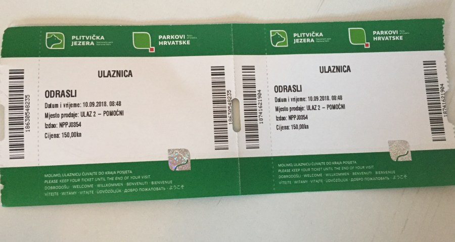 Tickets to the Plitvice Lakes National Park, Croatia