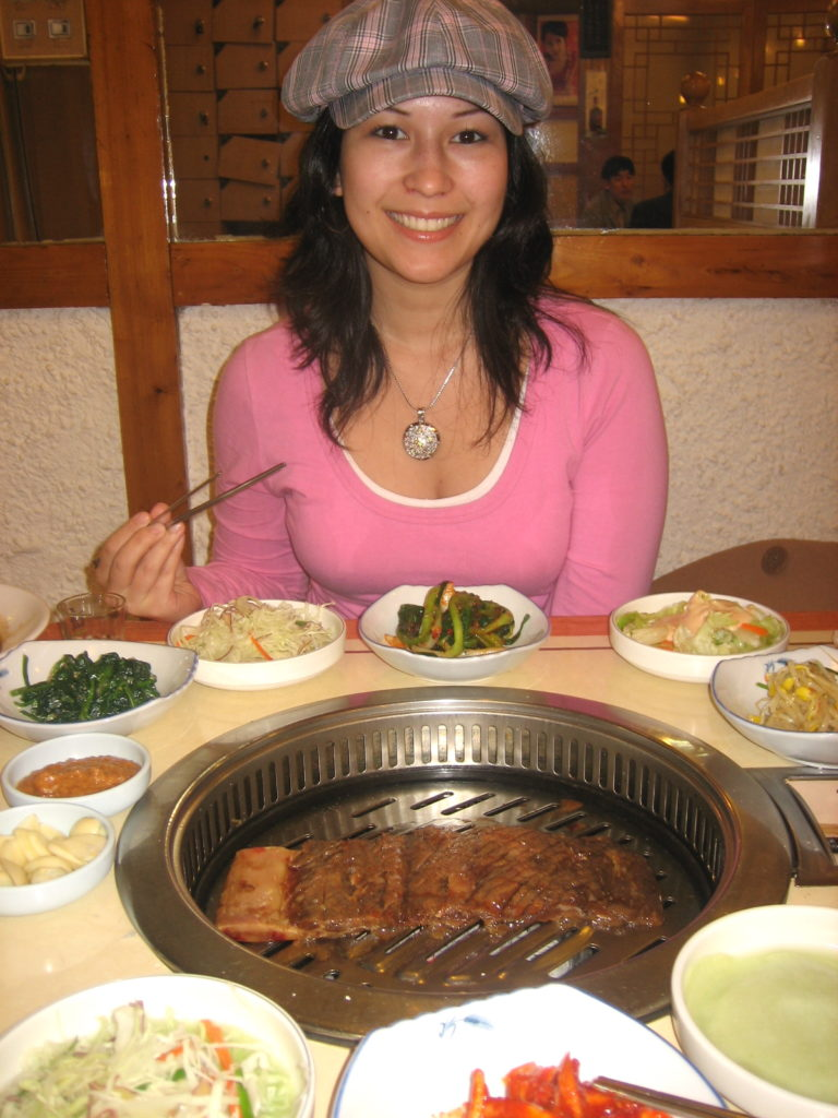 big Korean bbq spread in Seoul, Korea