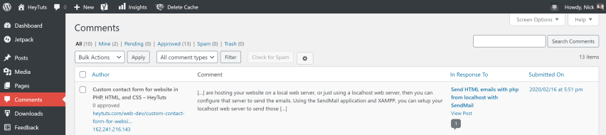 a look into what a WordPress auto comment (aka pingback) will look like in the admin panel.