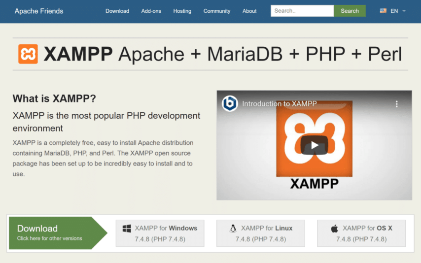How to Install WordPress on Localhost with XAMPP - download XAMPP from the official website