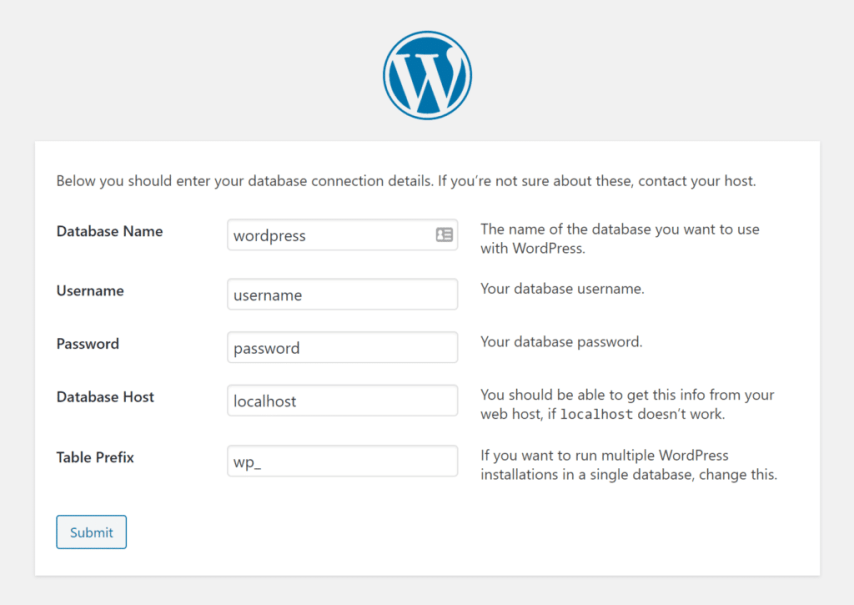 How to Install WordPress on Localhost with XAMPP - enter your database connection information