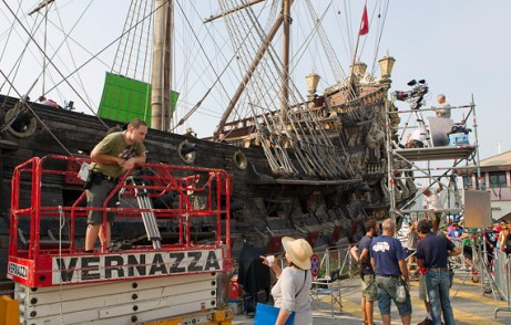 The ship, called the Galeone Neptune, was originally constructed for Roman Polanski's 1986 film Pirates and is permanently docked in Genoa, Italy, where these scenes were shot.