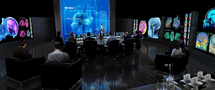 Int Boardroom: Rise of the Planet of the Apes Concept Art: Interior of Gen Sys Laboratories Boardroom where Research findings are reviewed