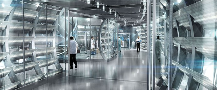 Lab Corridor: Rise of the Planet of the Apes Concept Art: Interior of Gen Sys Laboratories