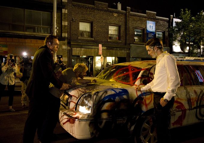 Kevin Durand and Robert Pattinson in Cosmopolis
