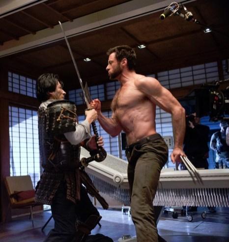 Hiroyuki-Sanada-and-Hugh-Jackman-on-set-of-The-Wolverine