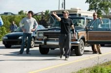 Henry Cavill, Zack Snyder and Kevin Costner on set of Man of Steel