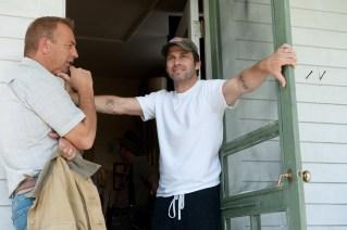 Kevin Costner and Zack Snyder on set of Man of Steel