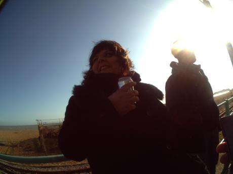 Co-director Jane Pollard on Brighton Beach during the 20,000 Days shoot. Taken 8th May 5:59pm.