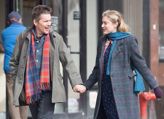 Ethan Hawke and Greta Gerwig filming a scene for 'Maggie's Plan' in Chinatown, New York Featuring: Ethan Hawke, Greta Gerwig Where: NY, New York, United States When: 26 Feb 2015 Credit: WENN.com