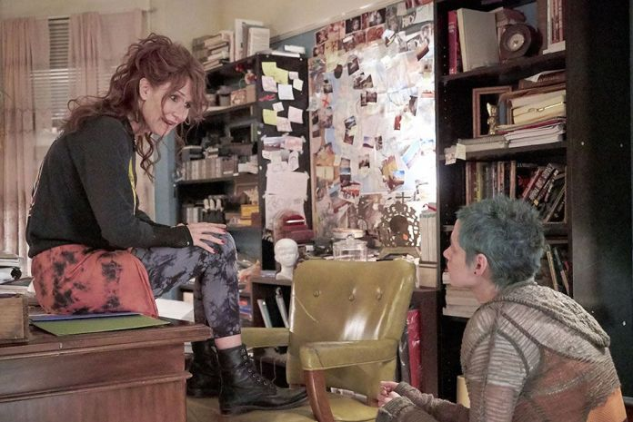 (L-R) Laura Dern as Laura Albert and Kristen Stewart as Savannah Knoop in the film J.T. LEROY. Photo courtesy of Universal Pictures Content Group.