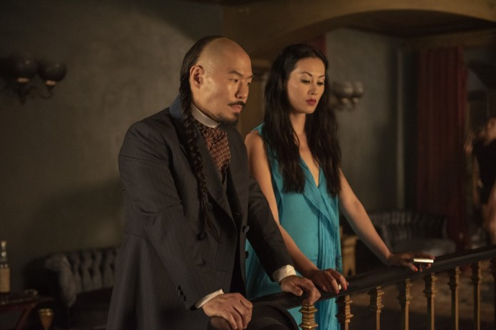 Hoon Lee as Wang Chao, Olivia Cheng as Ah Toy. Credit: David Bloomer/Cinemax.