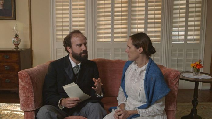 Brett Gelman and Molly Shannon in Wild Nights With Emily. Greenwich Entertainment.