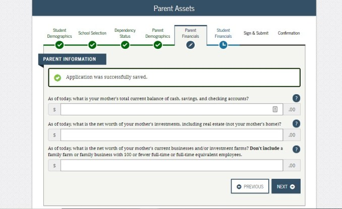Screenshot of the parent assests page of the FAFSA.