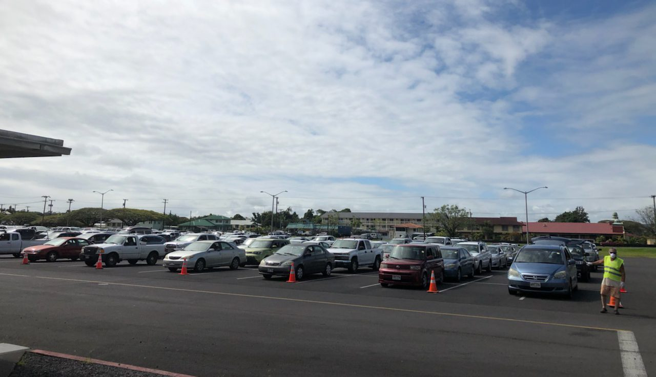 Cars line up for the Hilo Food Drive