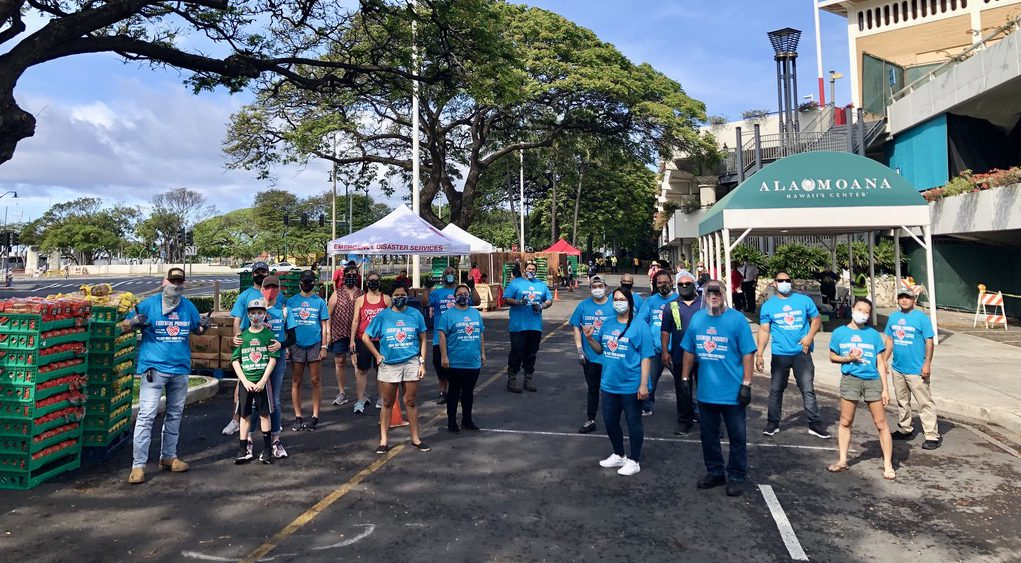 HFA partnered with The Salvation Army to donate bread, milk, eggs, and potatoes for over 1,200 families at Ala Moana Center