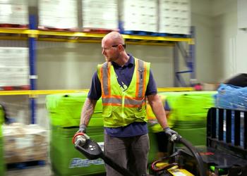 warehouse lift worker