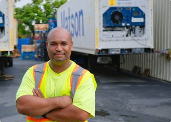 driver posing with Matson truck