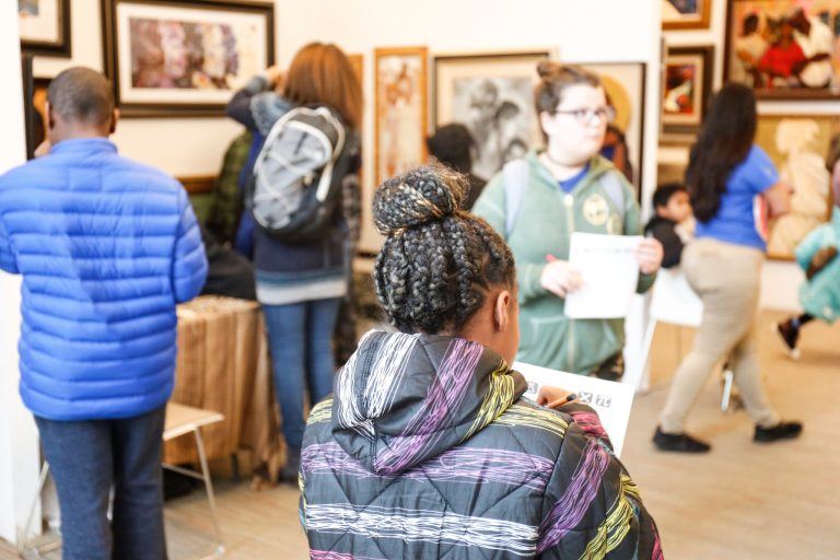 Students from invited schools tour the art show for free, interact with artists about how the arts connect to science, and engage with sponsors about various career opportunities.