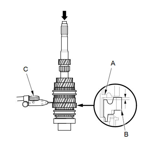 Mainshaft Assembly Clearance Inspection (M/T) :: Manual