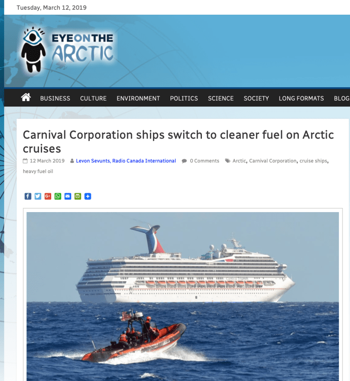 Carnival Corporation ships switch to cleaner fuel on Arctic cruises