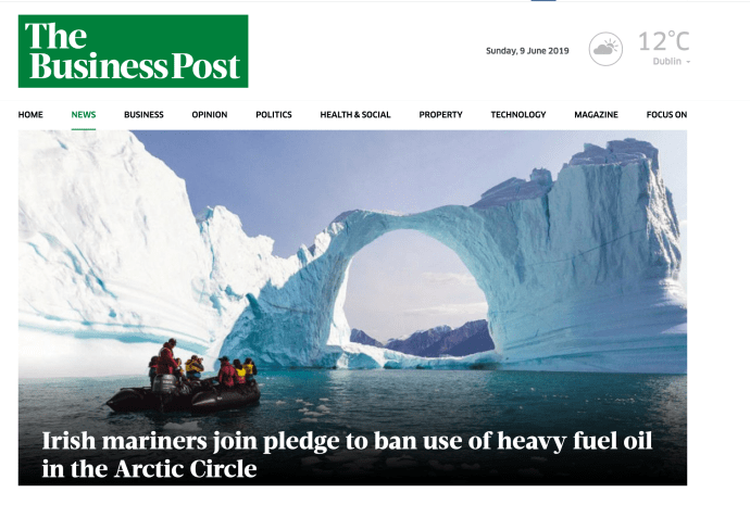 """""""Irish mariners join pledge to ban use of heavy fuel oil in the Arctic Circle """""""