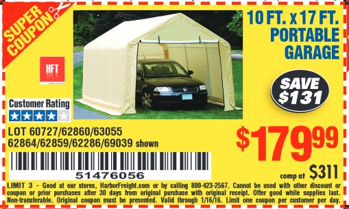 Harbor Freight Coupon 10 FT x 17 FT PORTABLE GARAGE Lot