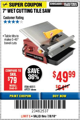 7 portable wet cut tile saw