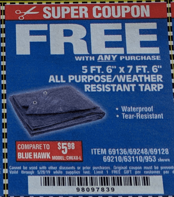 Harbor Freight Free Tarp Coupon - Year of Clean Water