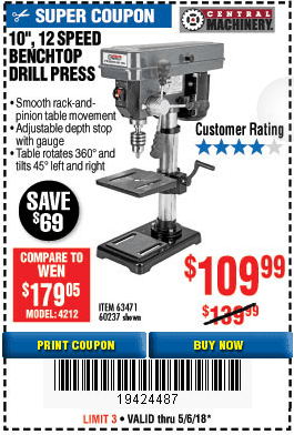 Central Machinery Drill Press 12 Speed