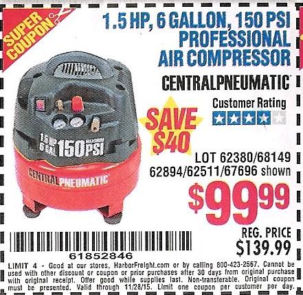 Harbor Freight 60 Gallon Air Compressor Coupon